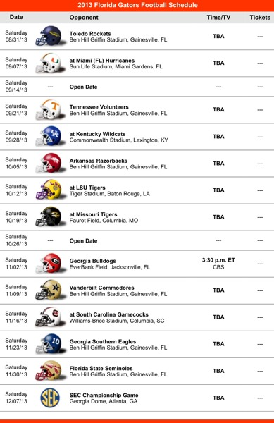 2013 Florida Gators Football Schedule