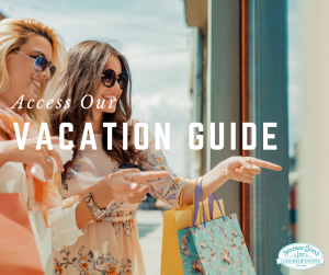 women window shopping text reads access our vacation guide