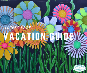 flower art text reads access our vacation guide