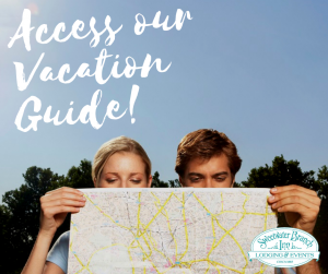 couple reading map planning their dream vacation and florida road trip text reads access our vacation guide