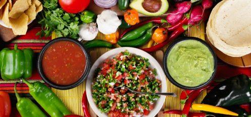 Salsa, guacamole, and pico de gallo