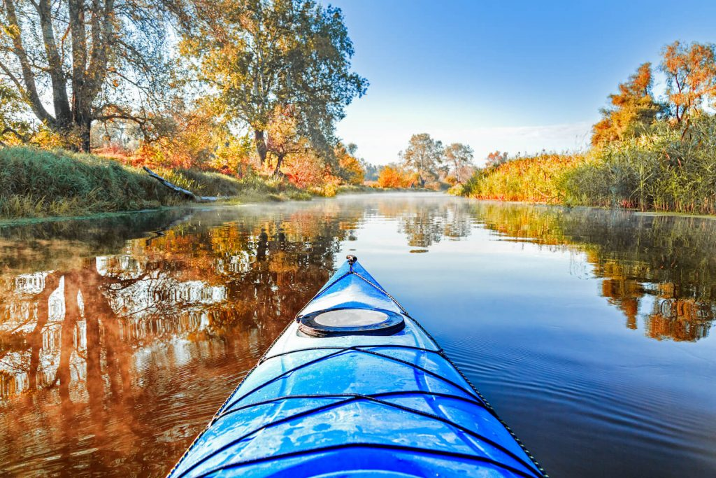 kayaking on a river