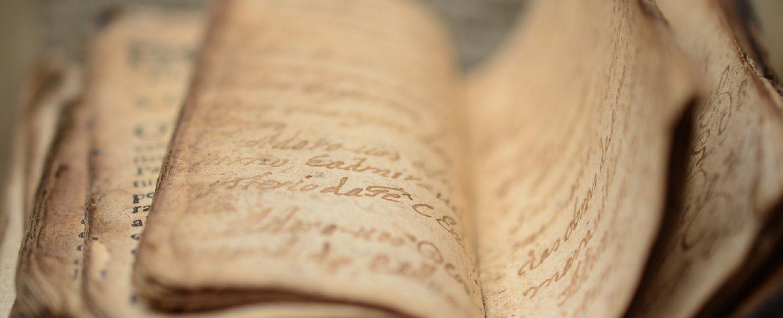 Old manuscript book. Macro.
