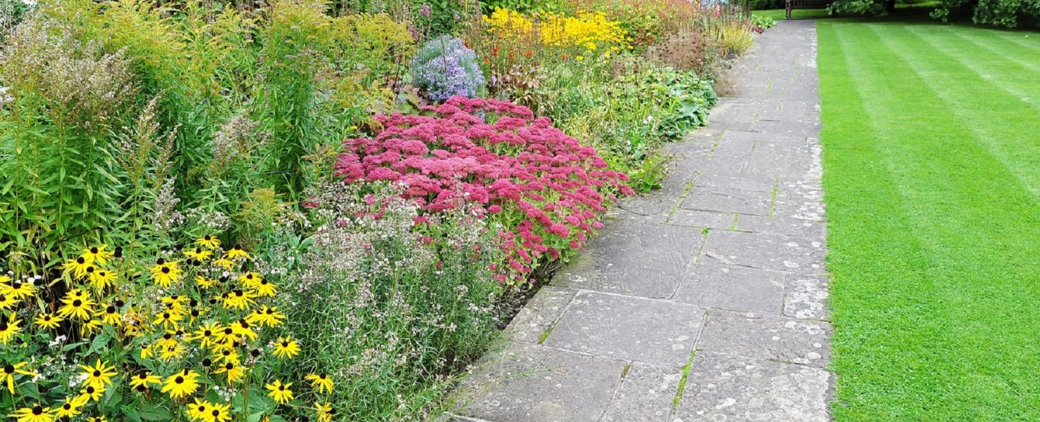 Pathway, Lawn and Flowerbeds in a Tranquil Landscape Garden