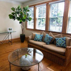 Island Grove Sun Room couch and windows