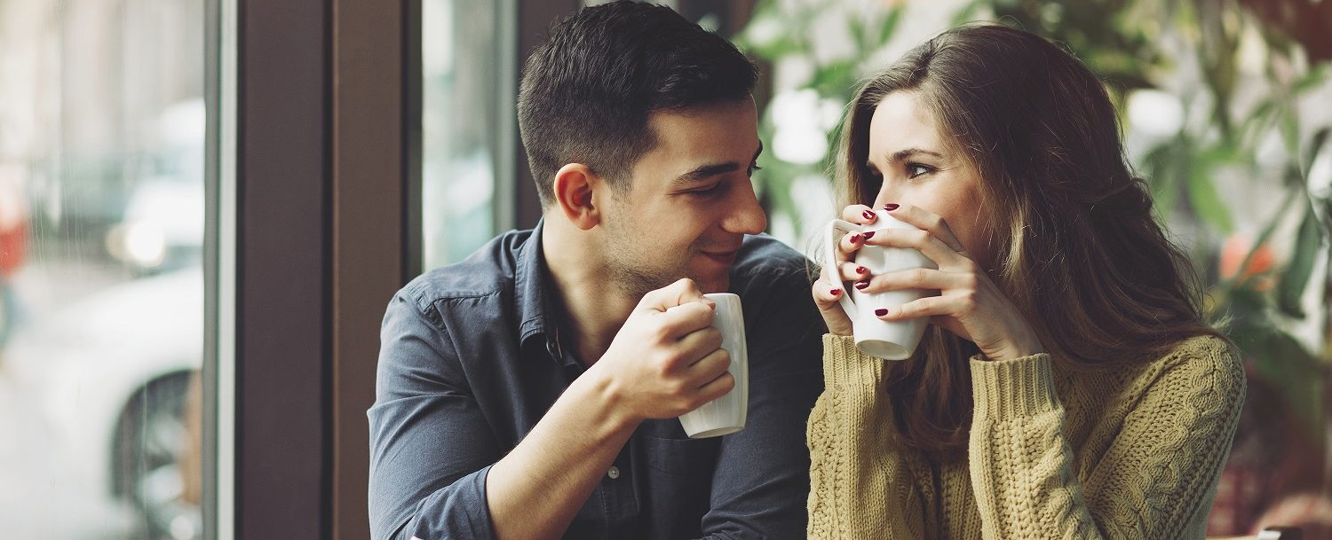 couple drinking coffee during the winter in Gainesville